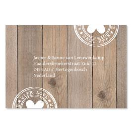 25 stuks adressticker huwelijk houtlook