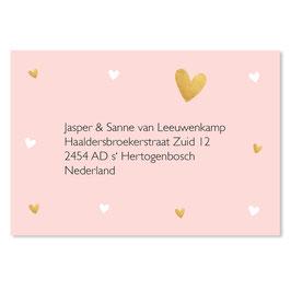 25 stuks adressticker roze hartjes