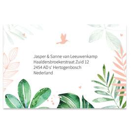 25 stuks adressticker tropische bladeren meisje