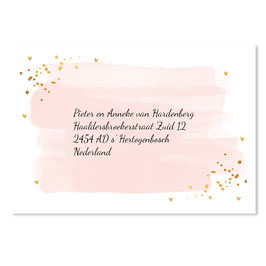 25 stuks adressticker doop waterverf roze goudlook