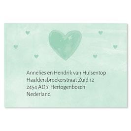 25 stuks adressticker hartjes groen waterverf