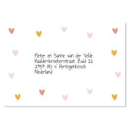 25 stuks adressticker hartjes kleur meisje