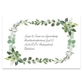 25 stuks adressticker foliage watercolor