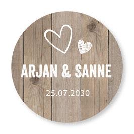 25 stuks sluitzegels trouwen houtlook