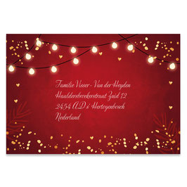 25 stuks adresstickers kerst rood lampjes