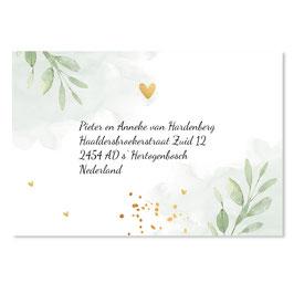 25 stuks adressticker doop floral groen