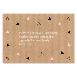 25 stuks adressticker driehoekjes Kraft roze