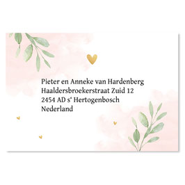 25 stuks adressticker floral roze