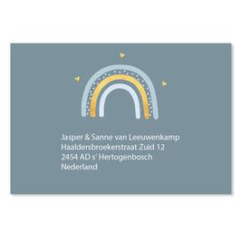 25 stuks adressticker regenboog blauw goudlook