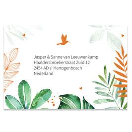 25 stuks adressticker tropische bladeren jongen