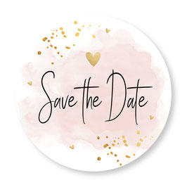 25 sluitzegel Save the Date waterverf roze goudlook