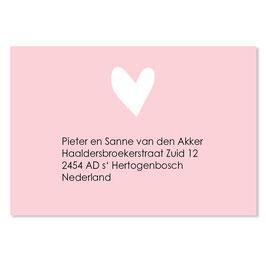 25 stuks adressticker hart roze