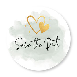 25 sluitzegel Save the Date groen goudlook hartjes