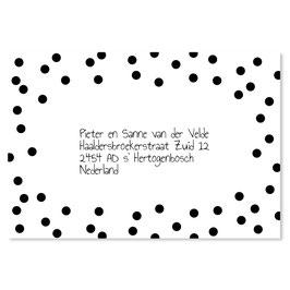 25 stuks adressticker dots zwart