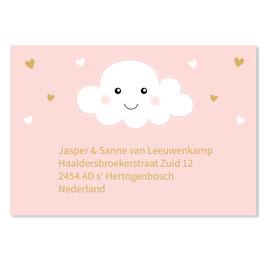 25 stuks adressticker doop wolk roze