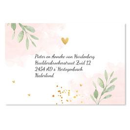 25 stuks adressticker doop floral roze