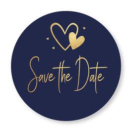 25 sluitzegel Save the Date blauw goudlook