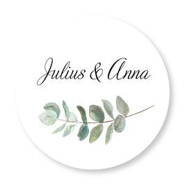 25 stuks sluitzegels trouwen eucalyptus