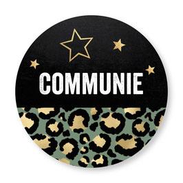 25 stuks sluitzegels communie panterprint groen