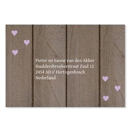 25 stuks adressticker huwelijk houtlook hartjes paars