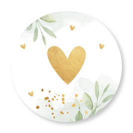 25 stuks sluitstickers floral hartje goudlook