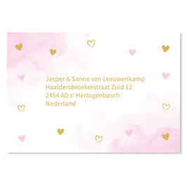 25 stuks adresstickers waterverf roze