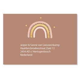 25 stuks adressticker regenboog roestbruin goudlook