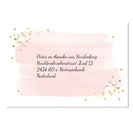25 stuks adressticker huwelijk waterverf roze