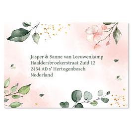 25 stuks adresstickers botanisch roze