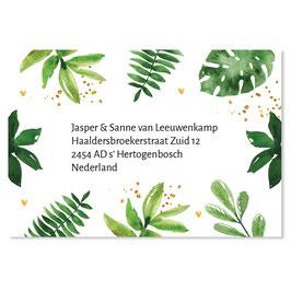 25 stuks adressticker botanical