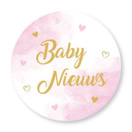 25 stuks sluitstickers baby nieuws roze