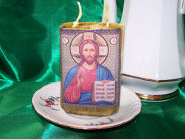 "1 A. Gebetskerze ""Jesus mit zehn Geboten"""