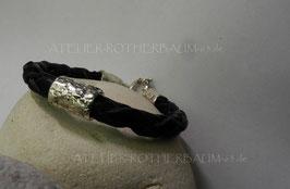 Armband K120 Leder schwarz rund geflochten