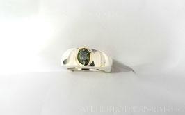 Ring K94 Fair Trade Silber aus Bolivien ca. 10mm breit in beide Richtungen gewölbt und schlank zulaufende Ringschiene mit Steinbesatz mit Fassung in 585 Gold recycling