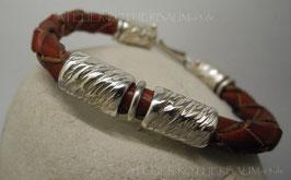 Armband K120 Leder naturbraun rund geflochten