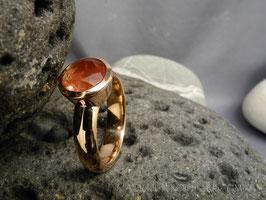 Ring K111 Finnland-Waschgold 585 rosé mit Oregon  Sunstone Apricot Größe 58