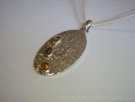 """Halsschmuck """"Drei Citrine"""" K37 Fair Trade Silber aus Bolivien"""