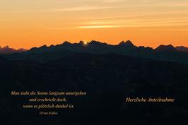 Doppelkarte A5 naturweiss /  Sonnenuntergang auf dem Niesen / PA298330-STF