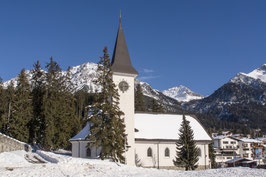 Doppelkarte B6 blütenweiss - kath. Kirche Lenzerheide / Winter - P1249649