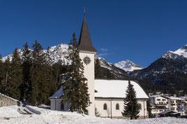 Doppelkarte A5 / blütenweiss - kath. Kirche Lenzerheide / Winter - P1249649