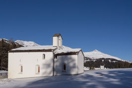 Doppelkarte A5 / blütenweiss - Kapelle St. Cassian / Winter - P1269969