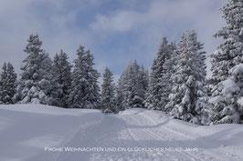 Doppelkarte A5 / blütenweiss / mit Text  - Winterwald II - P2284362-3T