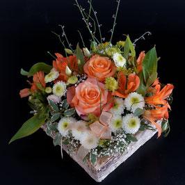Doppelkarte quadratisch mandarin - Blumengesteck  - MSW6240
