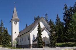 Doppelkarte A5 / blütenweiss - kath. Kirche Lenzerheide / Frühling - P5277785