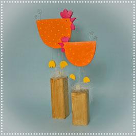 Hühner orange