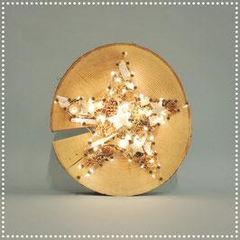 Sternenrondelle mit elektr. Beleuchtung     silber, ca. Ø 25 cm