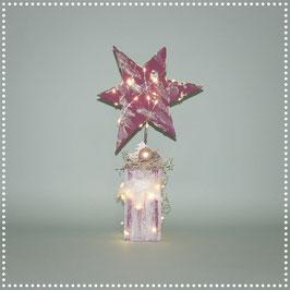 Stern auf Ständer mit elektr. Beleuchtung   weinrot, ca. 33 cm