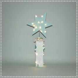 Stern auf Ständer mit elektr. Beleuchtung  hellblau, ca. 47 cm