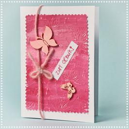 Schmetterlingskarte rosa