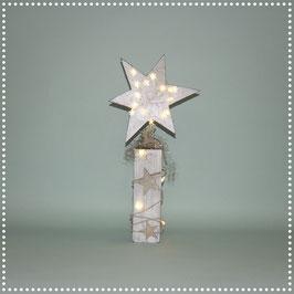 Stern auf Ständer mit elektr. Beleuchtung  silbrig, ca. 47 cm